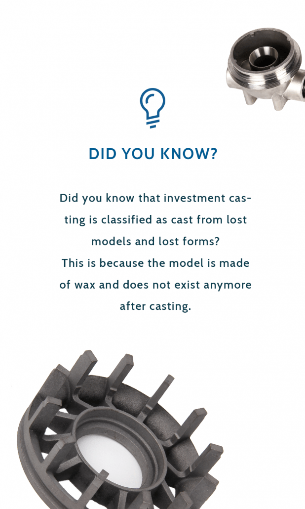 "Fact sheet about investment casting saying:""Did you know that investment casting is classified as cast from lost models and lost forms? This is because the model is made of wax and does not exist anymore after casting."""